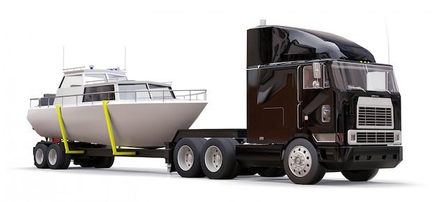 Un gros camion noir avec une remorque pour transporter un bateau sur un fond blanc