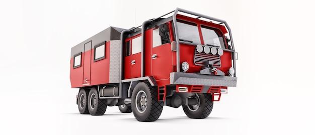 Gros camion rouge préparé pour de longues et difficiles expéditions dans des régions éloignées