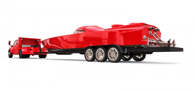 Gros camion rouge avec une remorque pour transporter un bateau de course sur une surface blanche