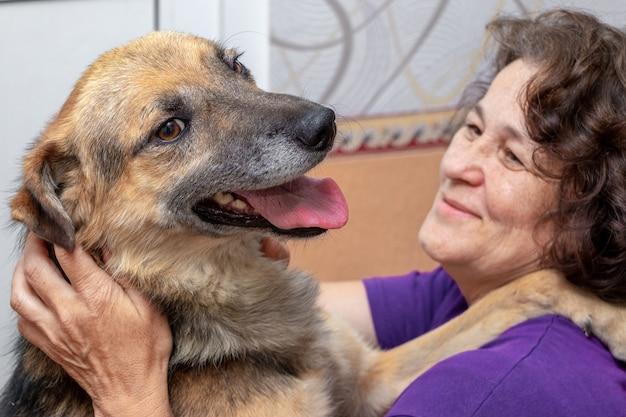 Un gros chien brun embrasse une femme, sa maîtresse. femme et chien heureux ensemble