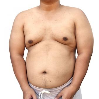 Gros corps d'un homme asiatique sur fond blanc