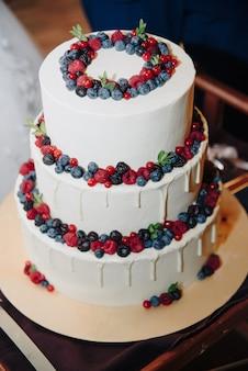 Gros gâteau blanc aux baies fraîches