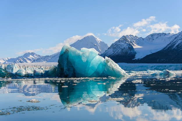 Gros morceau de glace bleu dans la mer arctique
