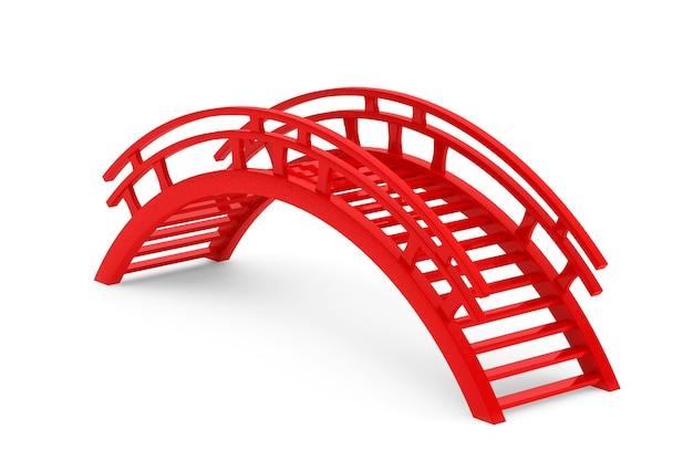 Gros plan 3d pont en bois rouge sur fond blanc