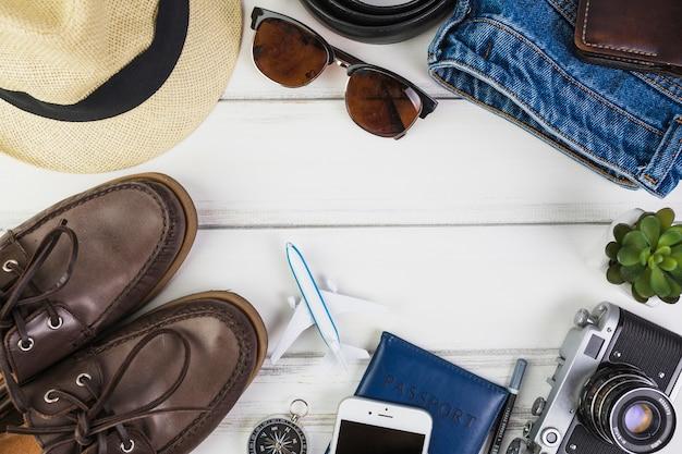 Gros plan, de, accessoires voyage