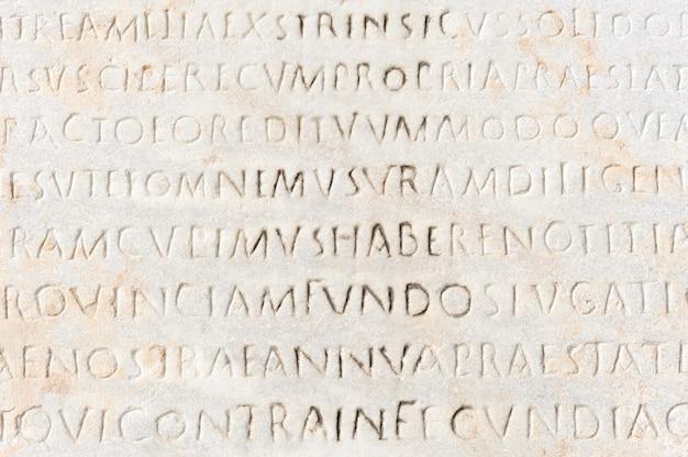 Gros plan, ancien, latin, texte