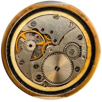 Gros plan de l'ancienne montre mécanique