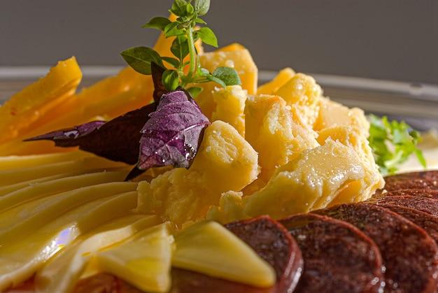 Gros plan des apéritifs italiens salami garde-manger paillis fromage colonial parmesan chips et saucisses