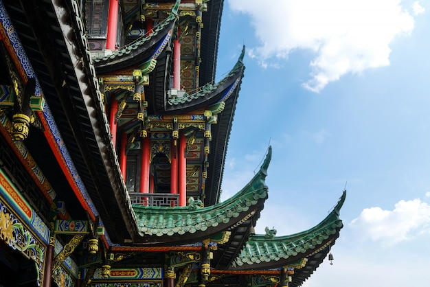 Gros plan, architecture, temple, pagode, gros plan, chongqing, porcelaine