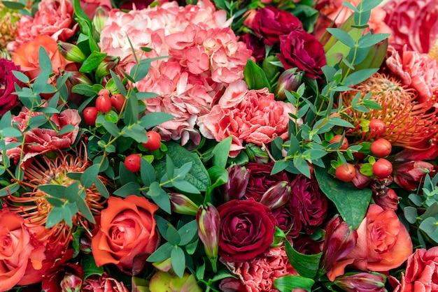 Gros plan assortiment de fleurs colorées