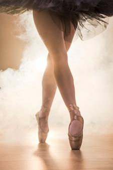 Gros plan ballerine jambes croisées