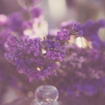 Gros plan d'un beau bouquet de fleurs sauvages lilas séchées