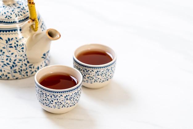 Gros plan beau service à thé chinois