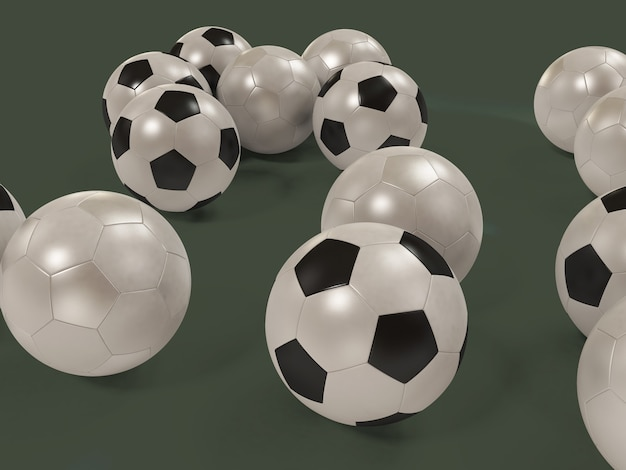 Gros plan sur beaucoup de ballons de football