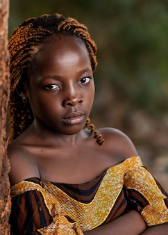 Gros plan belle fille africaine