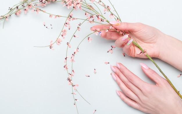 Gros plan de belles mains féminines avec des fleurs roses. concept de soins des mains, crème anti-rides, anti-âge, spa