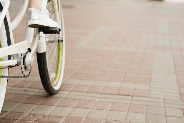 Gros plan, bicyclette, fond