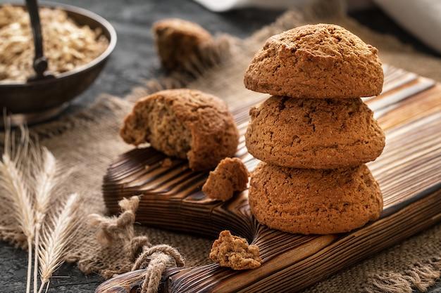 Gros plan de biscuits à l'avoine, petit déjeuner