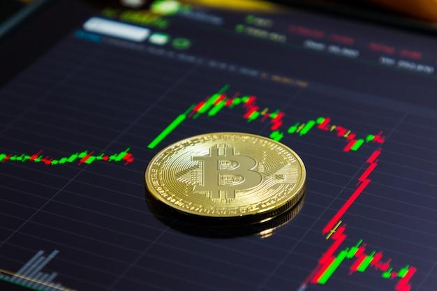 Gros plan, de, bitcoin doré
