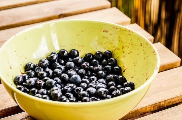 Gros plan de bleuets frais européens dans un bol