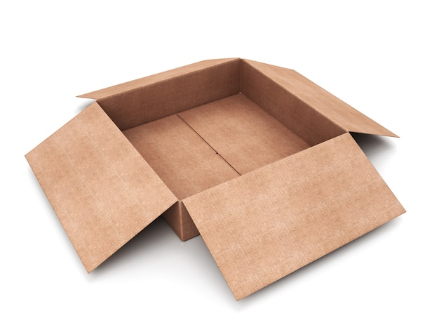 Gros plan sur une boîte en carton ouverte isolée