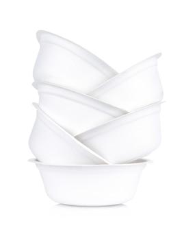 Gros plan de bols en papier blanc