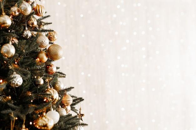 Gros plan, de, boules, sur, arbre noël