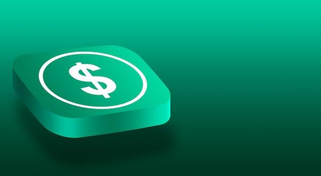 Gros plan sur le bouton 3d avec l'icône du dollar