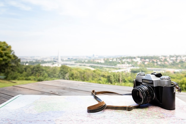 Gros plan caméra avec beau fond