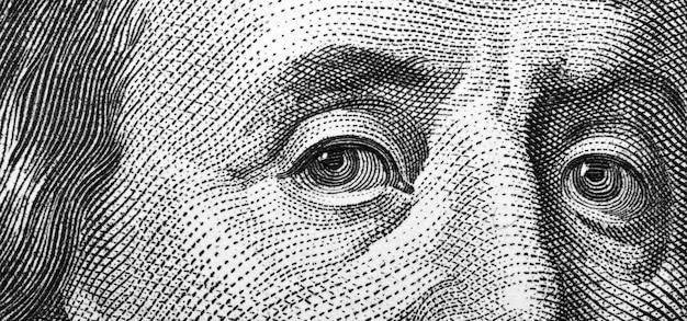 Gros plan, de, cent bill, franklin, portrait
