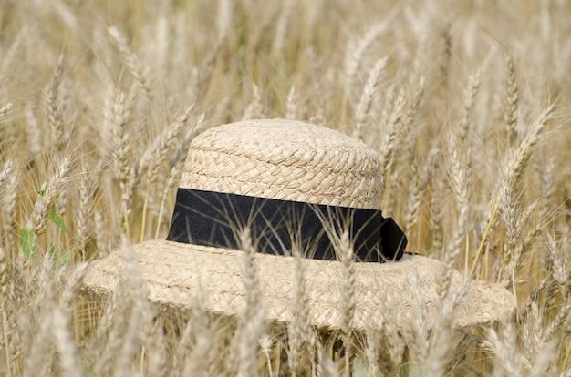 Gros plan d'un chapeau de paille dans le champ de blé