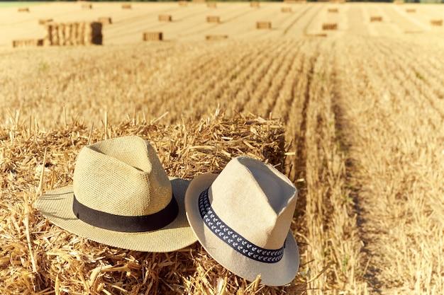 Gros plan sur des chapeaux sur des balles de paille pendant la récolte