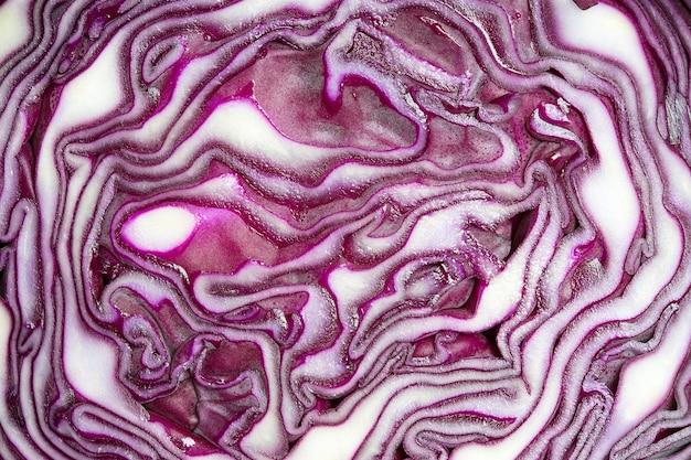Gros plan sur le chou salade tranché
