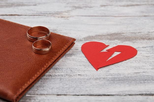 Gros plan coeur brisé et anneaux de mariage.