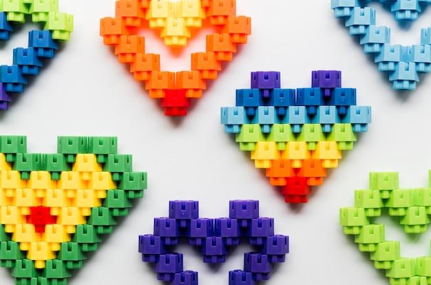 Gros plan, cœurs, fait, lego, blocs