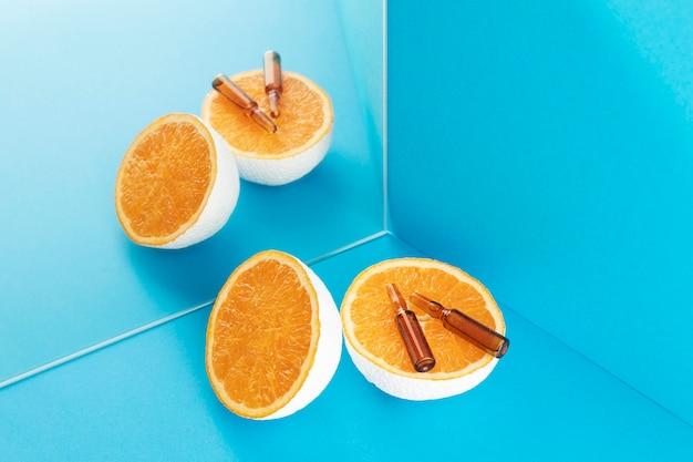 Gros plan sur les compléments alimentaires à l'orange