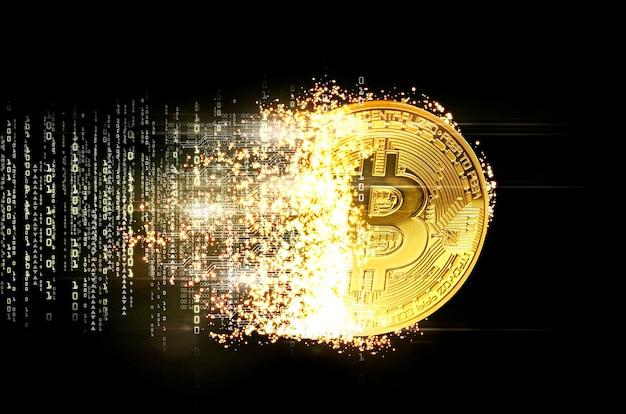 Gros plan sur le concept de minage de bitcoins