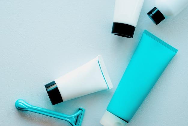 Gros plan, cosmétique, produits ensemble de soins de la peau