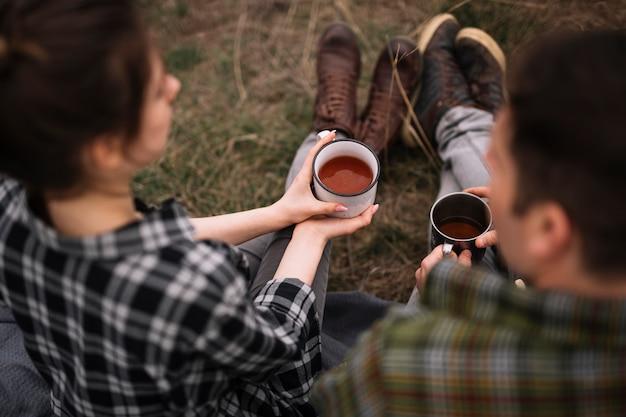 Gros plan, couple, café
