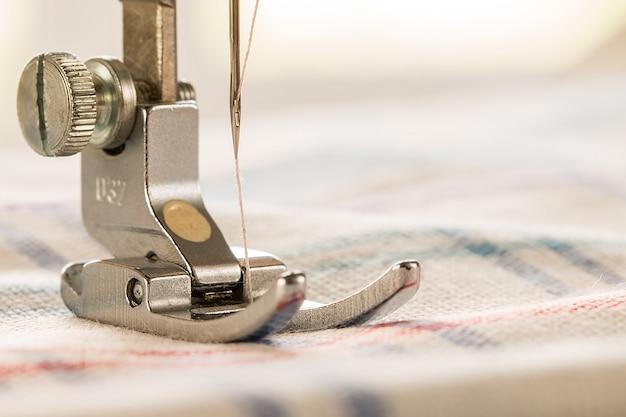 Gros plan, couture, machine, tissu