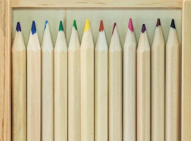 Gros plan de crayons de couleur fond. palette de couleurs de crayons colorés.