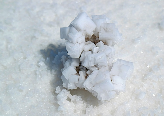 Gros plan de cristaux de sel naturels dans les plaines salées du salar de uyuni, potosi