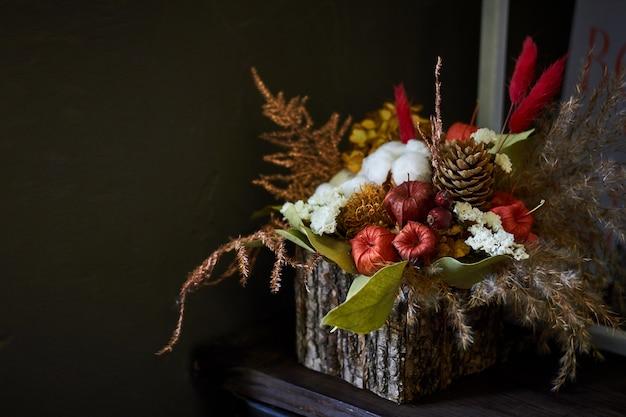 Gros plan, décoratif, automne, composition, panier