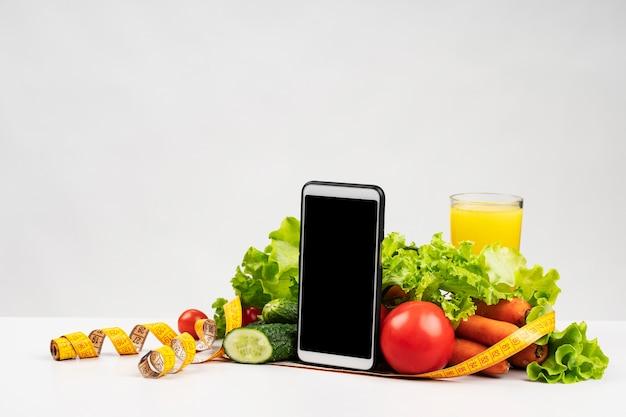 Gros plan, de, délicieux, assortiment, de, legumes, et, fruit