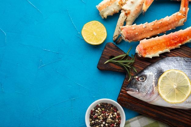 Gros plan, délicieux, fruits mer, sur, table