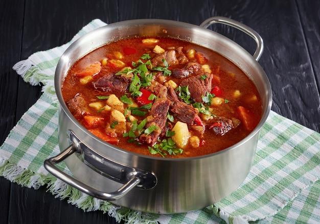 Gros plan de délicieux goulasch hongrois chaud avec viande de boeuf, paprika, légumes et csipetke