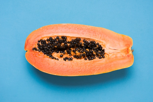 Gros plan, délicieux, papaye, table