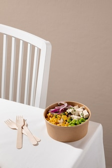 Gros plan sur un délicieux repas végétalien riche en protéines