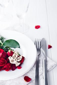 Gros plan, de, détail, sur, mariage, déjeuner, paramètre table, à, colombe