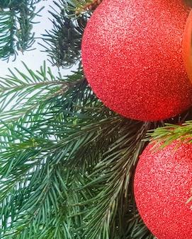 Gros plan de deux boules de noël rouge brillant, sur une branche de sapin, concept de décoration de vacances et arrière-plan, vertical.